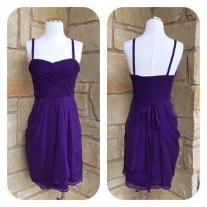 J Crew Purple Silk Spaghetti Strap Cocktail Dress